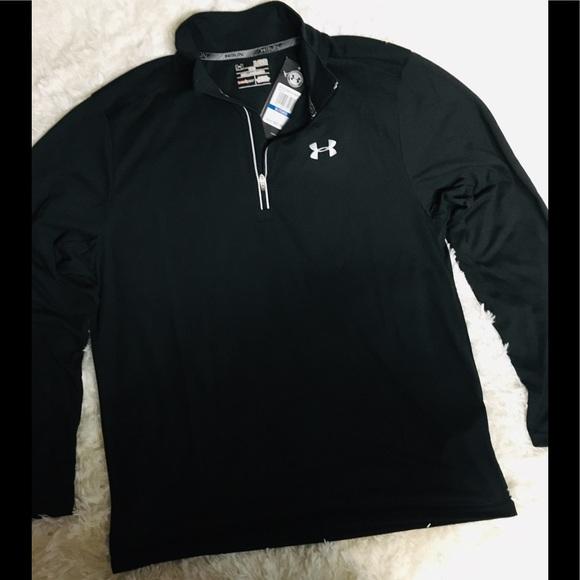 Under Armour Black Sz XL Long Sleeve Zip Neck Shirt Heatgear New